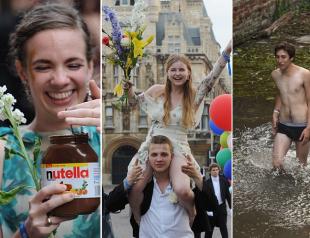 Выпускной по-британски: студенты Кембриджа отметили выпуск фейерверками и... голым заплывом (ФОТО)
