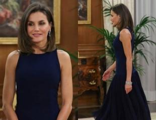 Напоминает Меган: королева Летиция вышла в свет в темно-синем платье с плиссировкой (ФОТО)