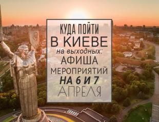 Куда пойти в Киеве на выходных: афиша мероприятий на 6 и 7 апреля