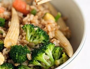 Рецепт постного блюда «Коричневый рис с овощами». Пошаговые ФОТО