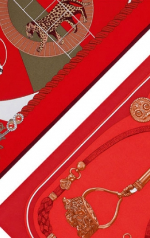 Пестрые платки Festive Red от Hermès