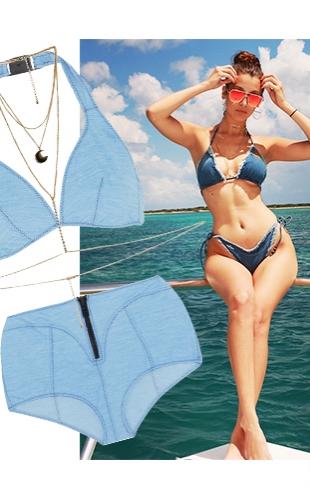 Джинсовый купальник и слейв-ожерелье: Белла Хадид на пляжной вечеринке в честь 19-летия Кайли Дженнер