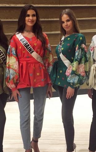 Мисс Украина Вселенная Алена Сподынюк подарила участницам вышиванки
