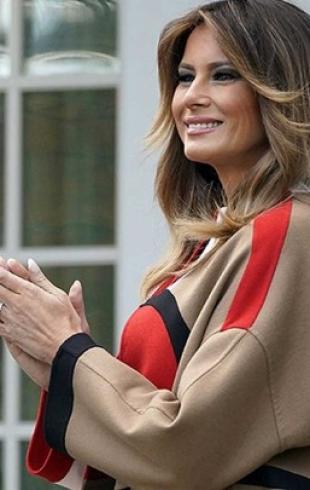 Мелания Трамп в необычном образе для официальной встречи: брюки с лампасами и черная блуза (ГОЛОСОВАНИЕ)