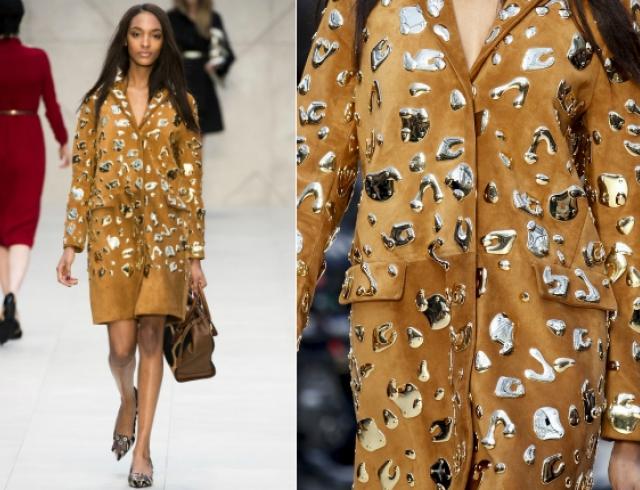 """Пальто с металлическими """"пятнами"""" Burberry Prorsum"""