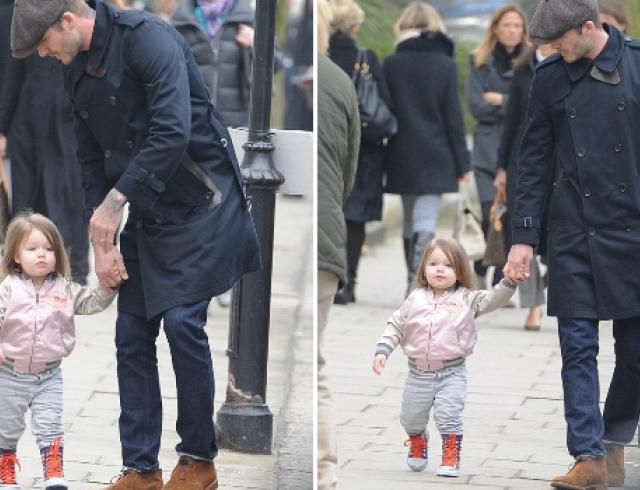Папин день: Дэвид Бекхэм на прогулке с дочкой Харпер. Фото