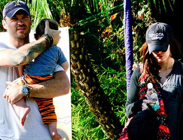 Беременная Меган Фокс появилась на публике с сыном