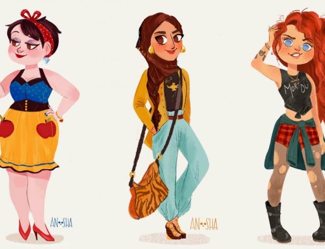 Если бы принцессы жили в наши дни: Белоснежка с Айфоном и Жасмин в хиджабе
