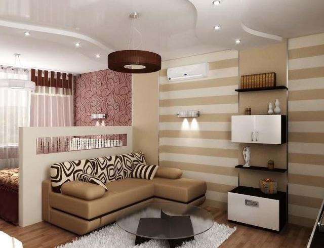 Интерьер для однокомнатной квартиры: как стильно и уютно оформить спальню и гостиную в одной комнате (ФОТО 20+)