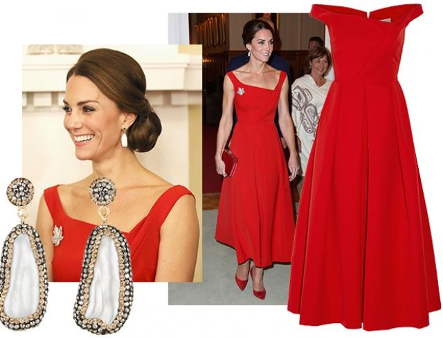 Вдохновение дня: идеальная Кейт Миддлтон в красном платье Preen by Thornton Bregazzi