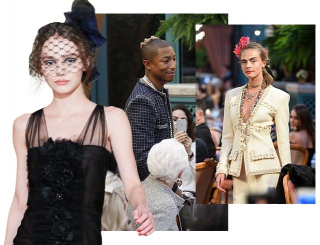 Показ Chanel #ParisCosmopolite: первое дефиле Лили-Роуз Депп, Фарелл Уильямс в ермолке и Кара Делевинь