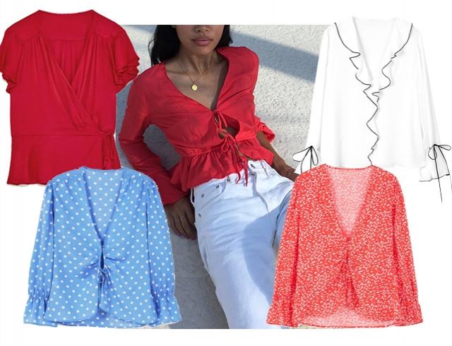Романтичная блуза с воланами и глубоким декольте — то, что нужно для жары