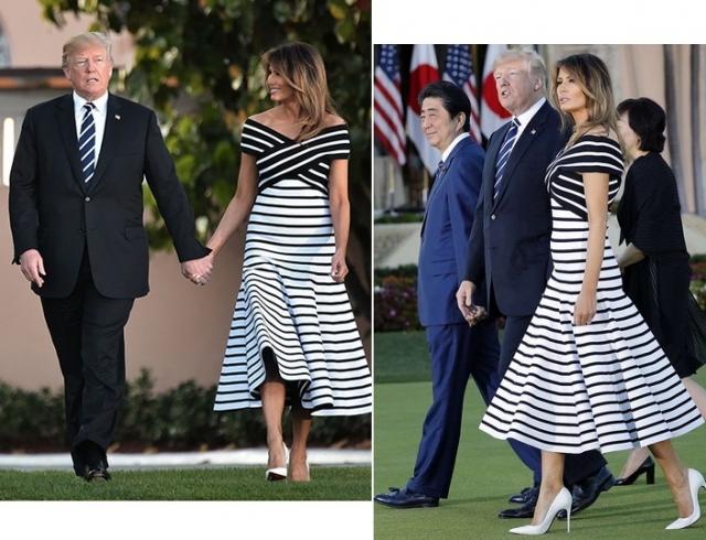 Мелания Трамп в полосатом платье стала модным вдохновением недели