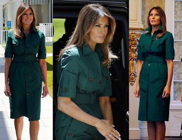 Изумрудное настроение: Мелания Трамп подчеркнула стройную фигуру стильным нарядом