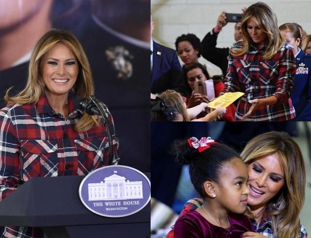 Стильная Мелания Трамп приготовила подарки для малоимущих детей и выступила с речью (ФОТО)