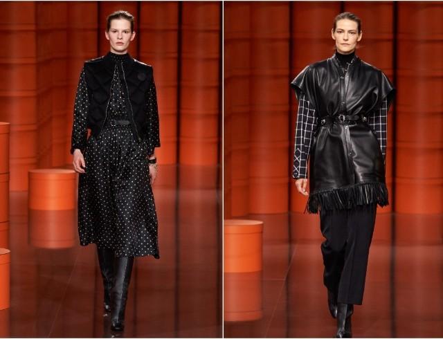 Пончо-парка, бомберы, кожаные жилеты: Hermès представили коллекцию сезона осень-зима 2021